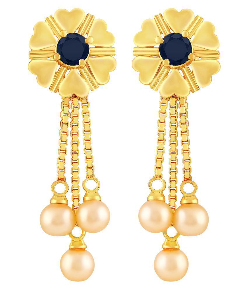 MFJ Fashion Beautiful Heart Shape 3 String Pearl Bead Brass 1 Gram Gold Plated Dangle Earring For Women