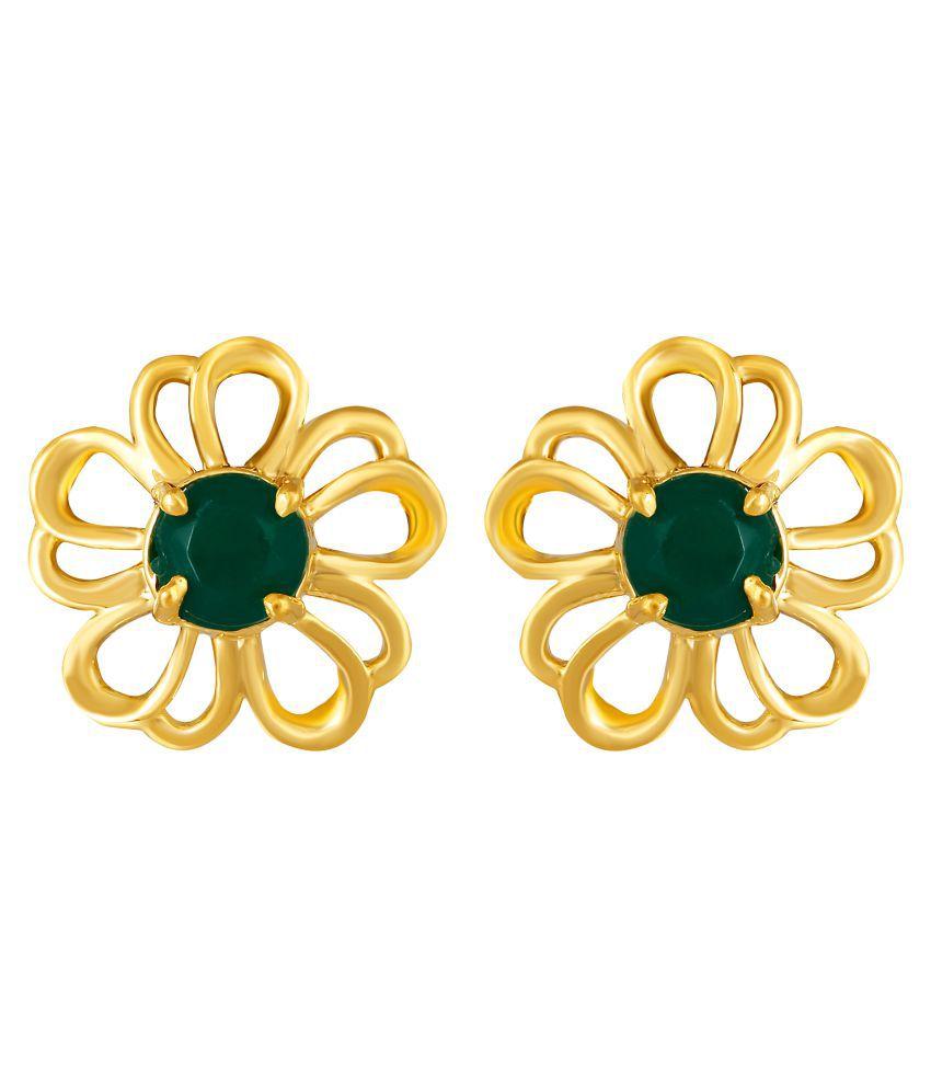 MFJ Fashion Trendy Flower Design Green Stone Brass 1 Gram Gold Plated Stud Earring For Women
