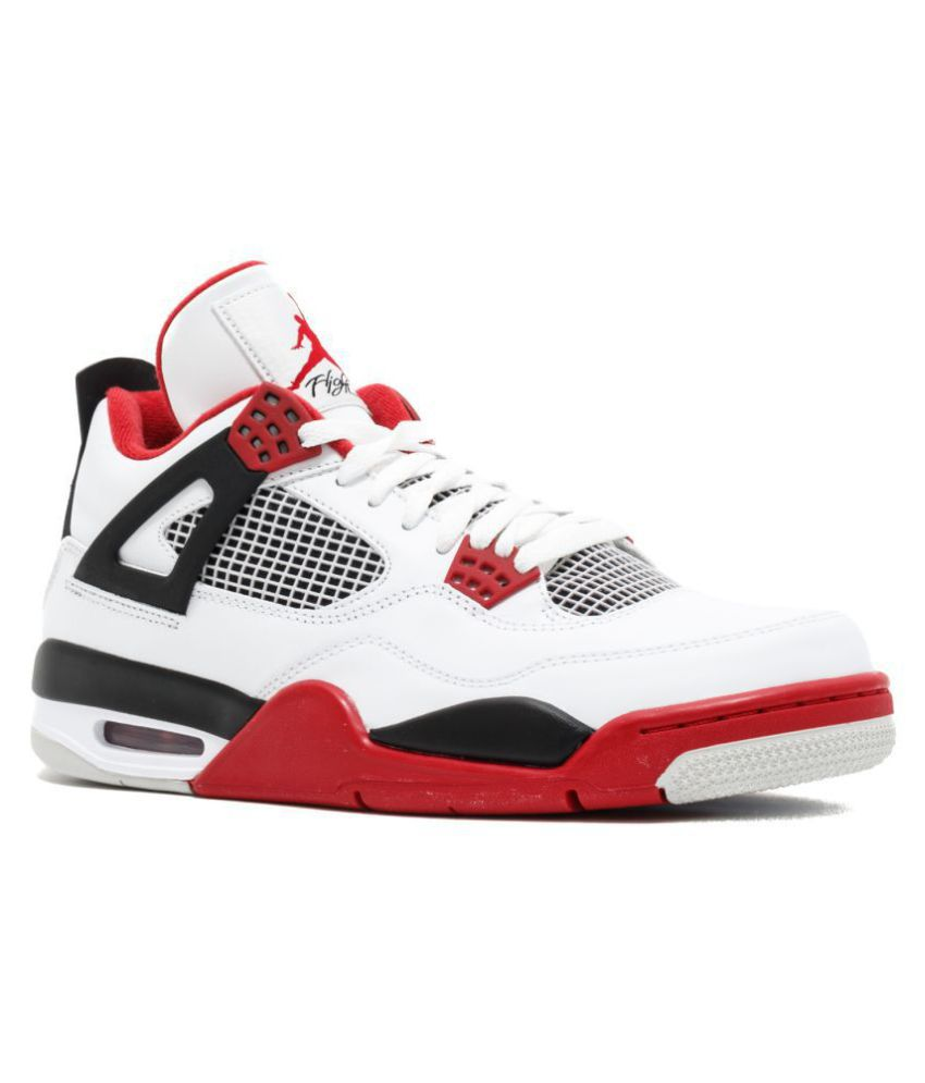 huge selection of 84103 3dce2 Nike Air Jordan Retro 4 White Basketball Shoes