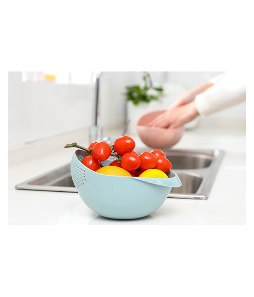 COLOGO 1PC Blue Color Home Kitchen Creative Plastic Thickened Wash Rice Vegetables Fruit Basket