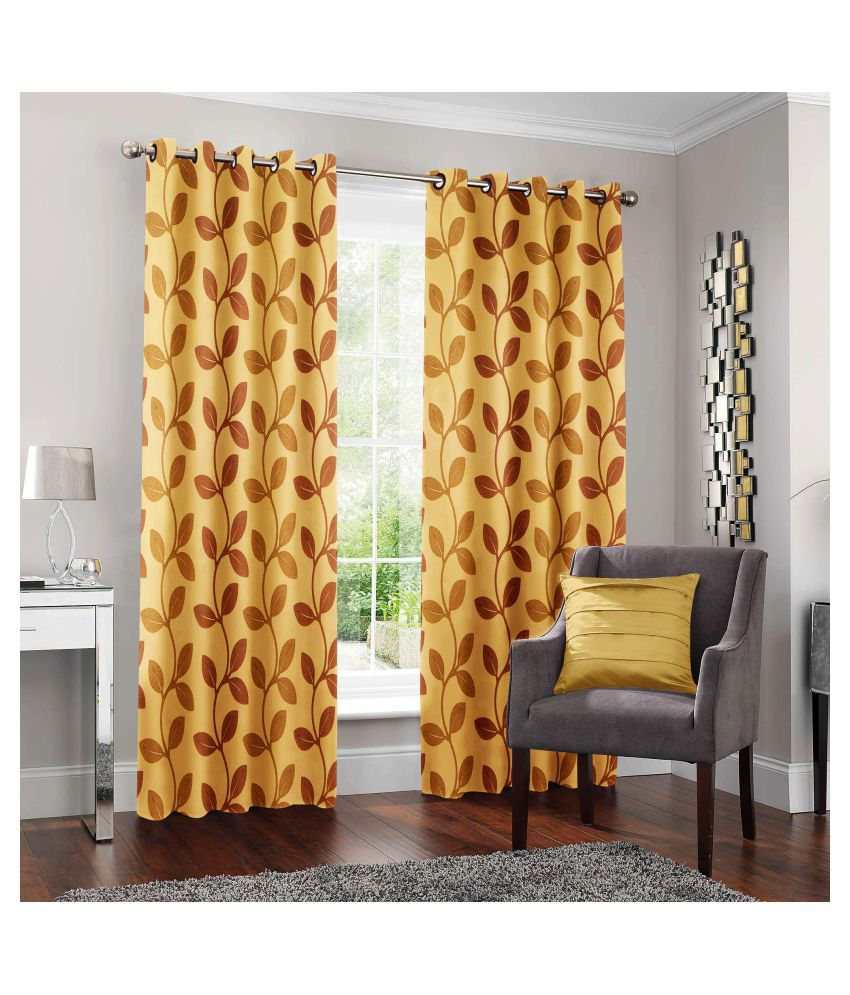 Happy life Set of 2 Door Semi-Transparent Eyelet Polyester Curtains Beige