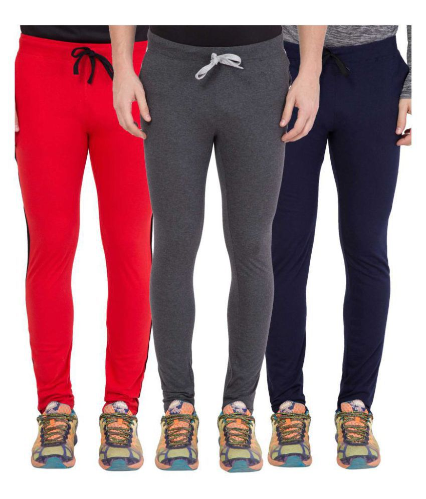 Haoser Men's Combo of 3 Navy Blue/ Dark Grey/ Red Full Length Cotton Stylish Solid TrackPant