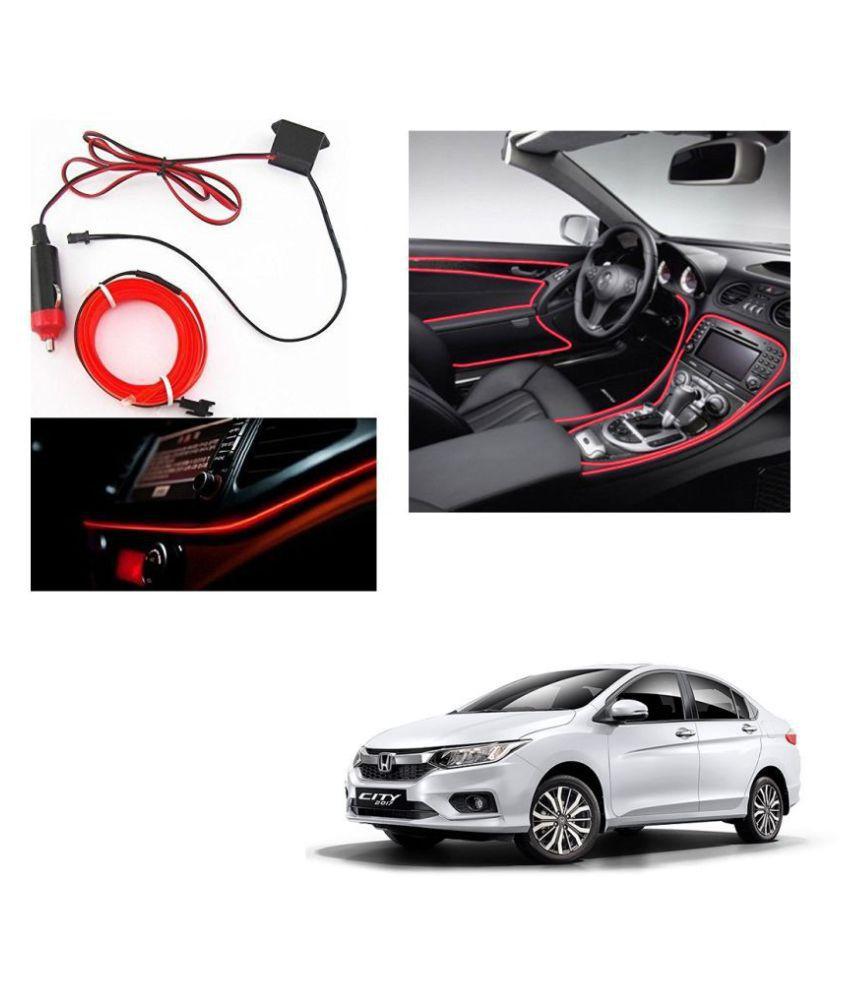 Auto Addict Red Color 12V 5Mtrs Roll Cold Light Car Socket Strip Neon Lamp Creator Decor Dashboard Interior Lighting For Honda New City 2017