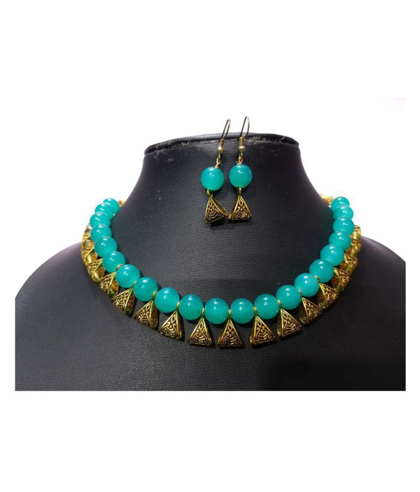 Pearl Adhya Alloy Turquoise Choker Contemporary/Fashion Gold Plated Necklaces Set