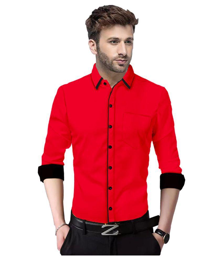 SUR-T 100 Percent Cotton Red Solids Shirt