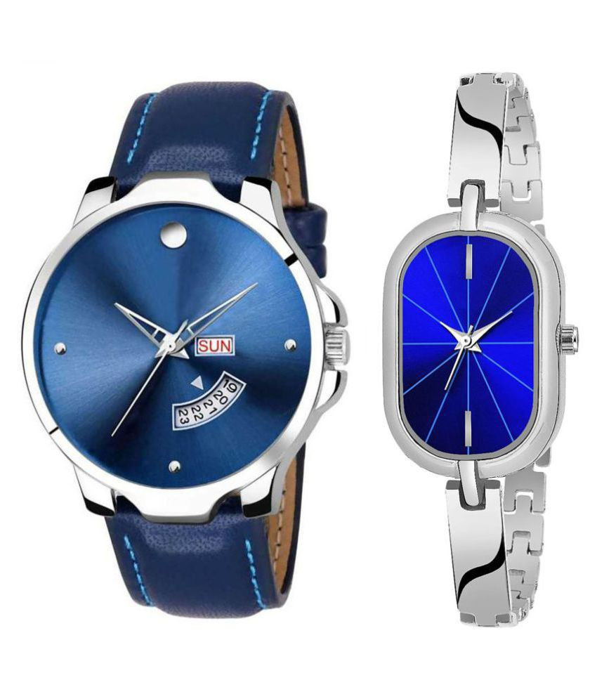 Selveen enteprise Blue Dial Day And Date New Stylish Couple Watch For Men And Women DR181