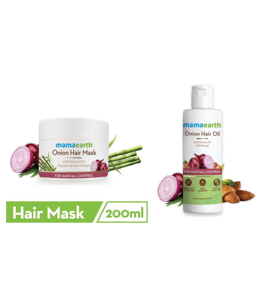 Mamaearth's Onion Hair Mask For Dry & Frizzy Hair, Controls Hairfall and Boosts Hair Growth, With Onion & Organic Bamboo Vinegar\n200ml Onion Oil for Hair Regrowth & Hair Fall Control with Redensyl 150ml