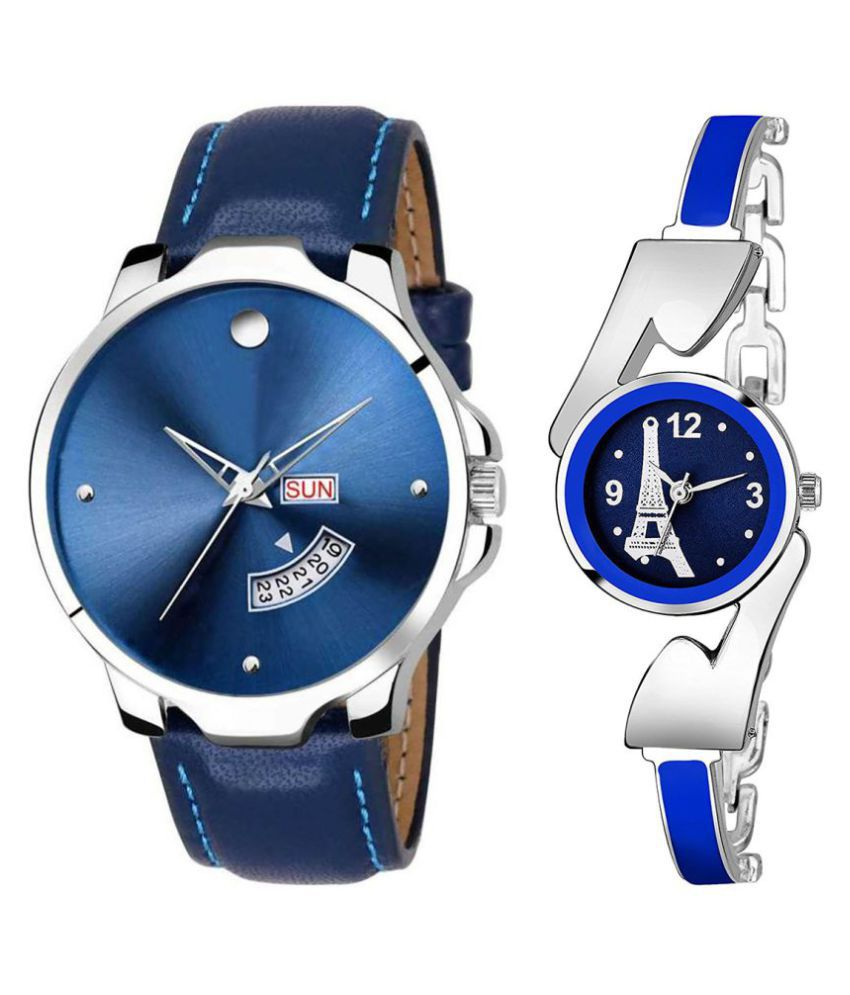 Selveen enteprise Blue Dial Day And Date New Stylish Couple Watch For Men And Women DR173