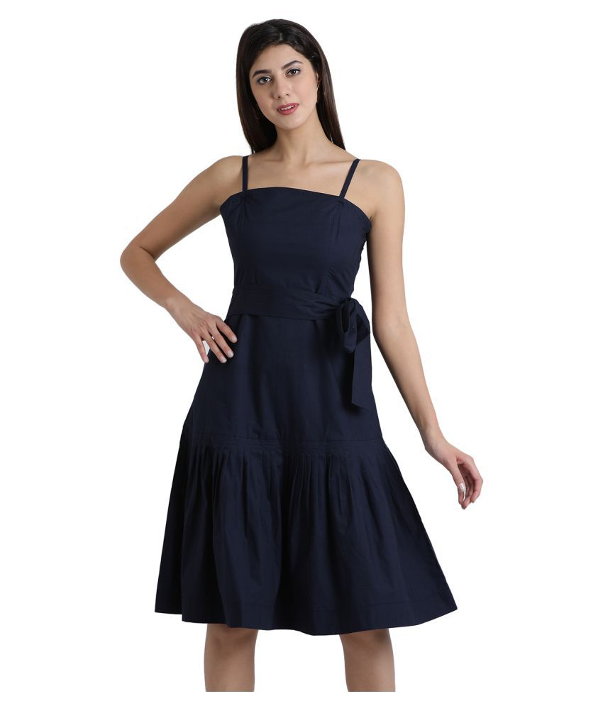 Aayna Cotton Navy Shift Dress