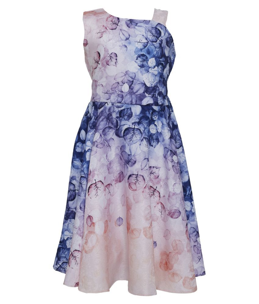 Tales & Stories Girls Pink Floral Printed Casual Flared Dress