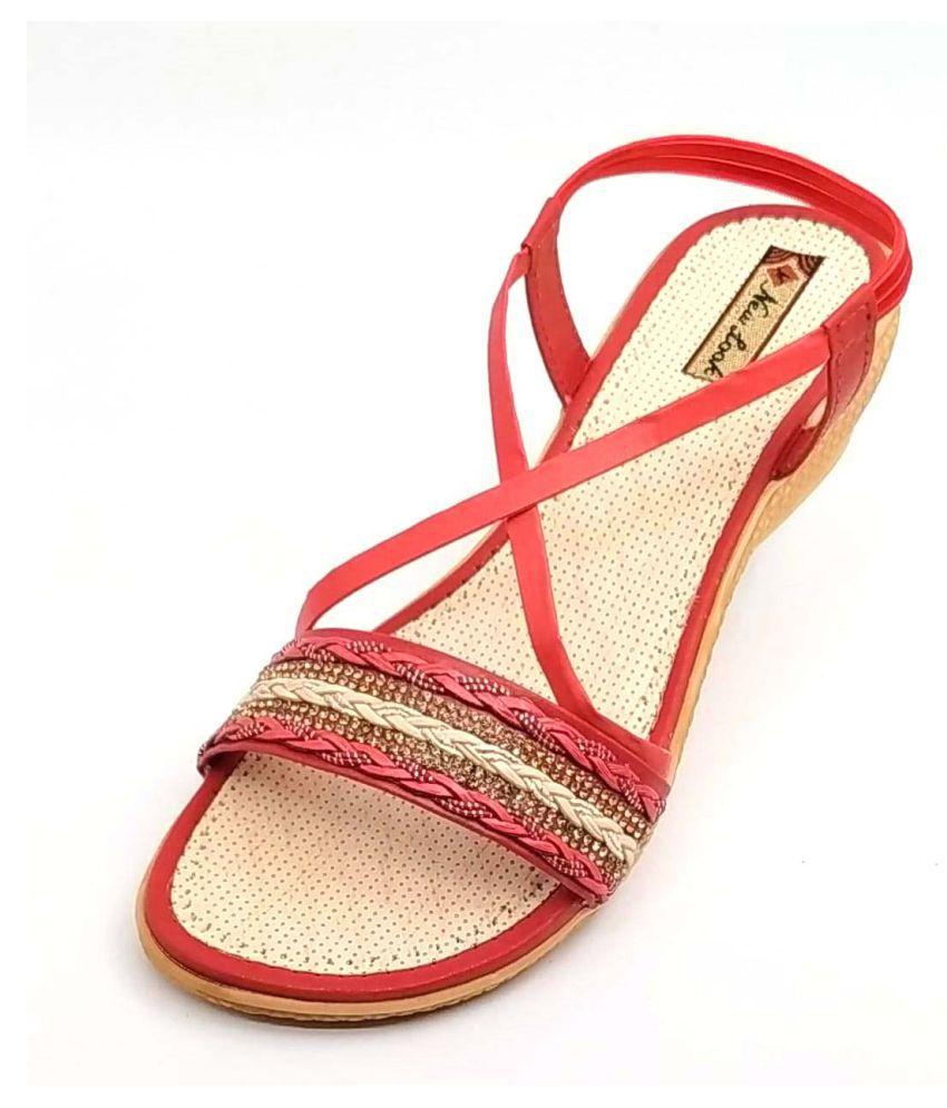 gooddayindia Red Wedges Heels