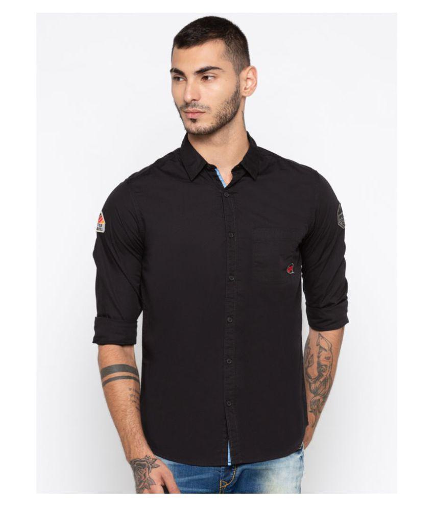 Spykar 100 Percent Cotton Black Solids Shirt
