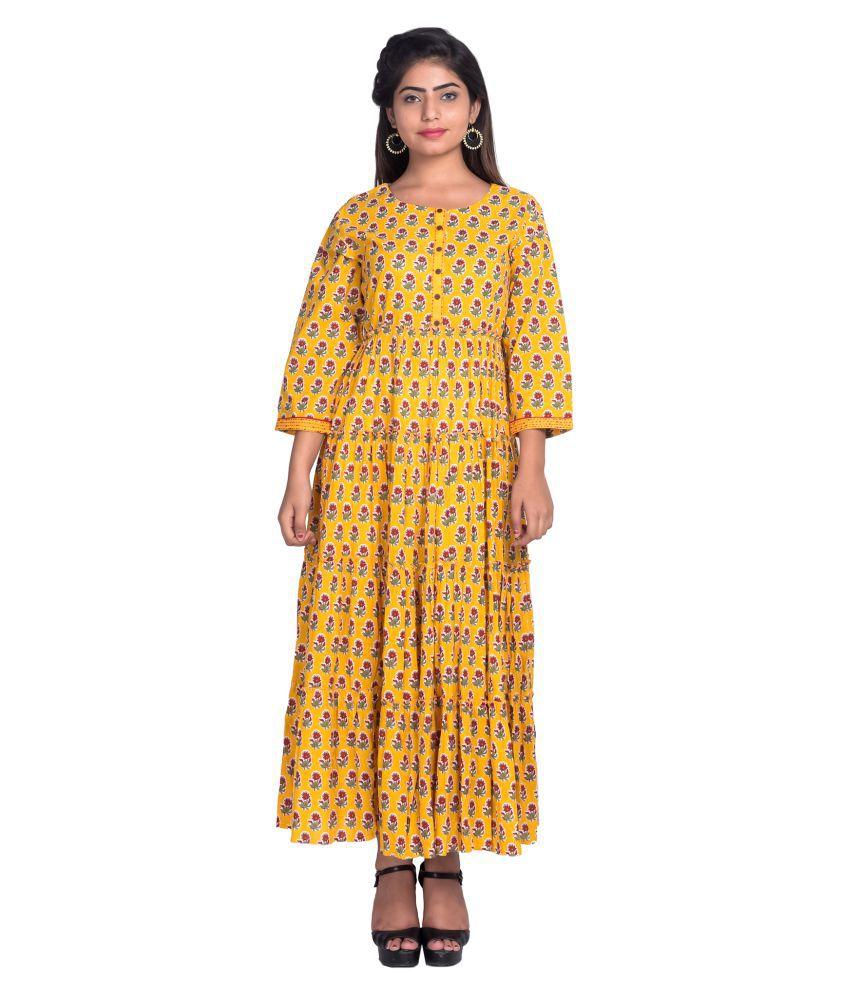 fabGlobal Cotton Yellow A- line Dress