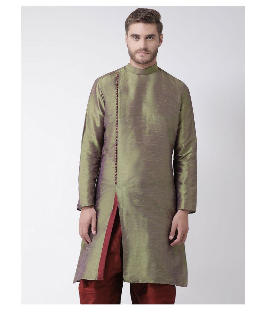 Deyann Green Silk Blend Kurta Pyjama Set