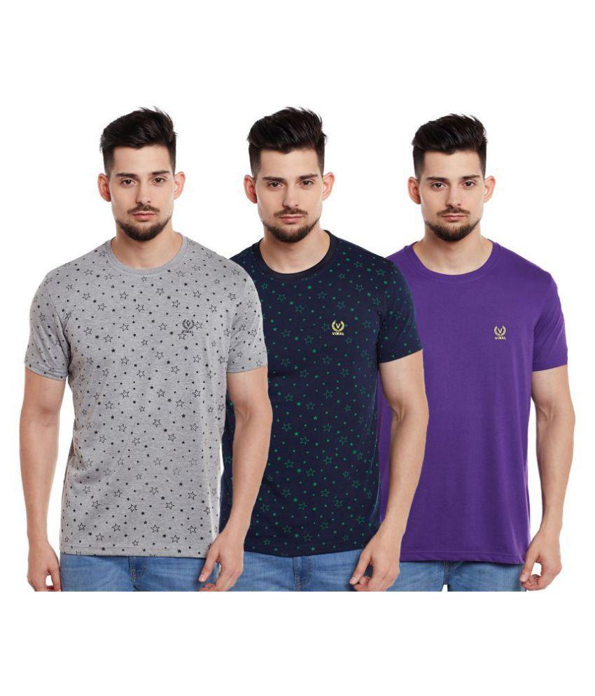 Vimal Jonney Cotton Blend Multi Solids T-Shirt