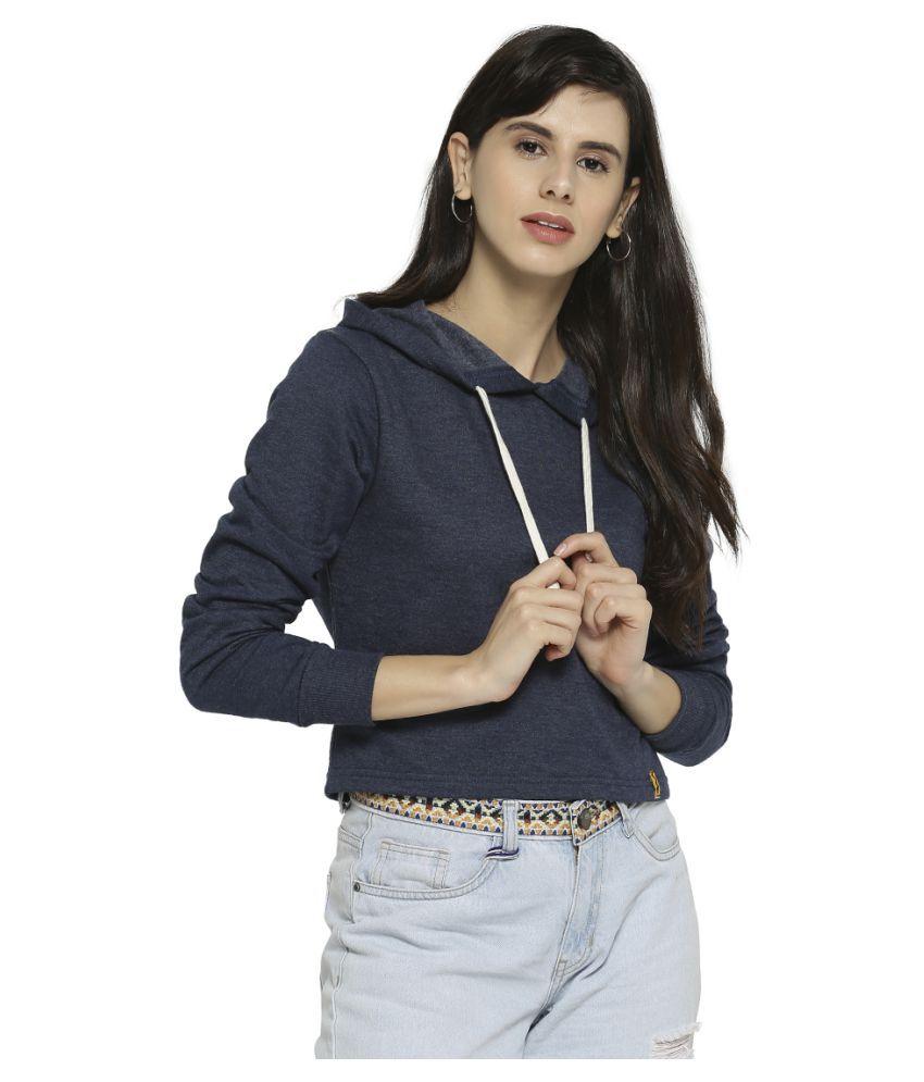 Campus Sutra Cotton Blue Hooded Sweatshirt