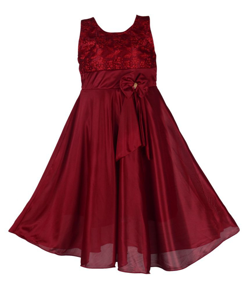 Clobay Satin Lycra Long Frock Ethnic Dress for Baby Girls