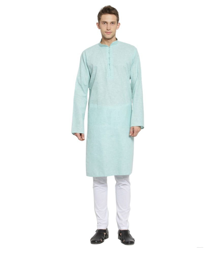 RG Designers Green Cotton Kurta Pyjama Set