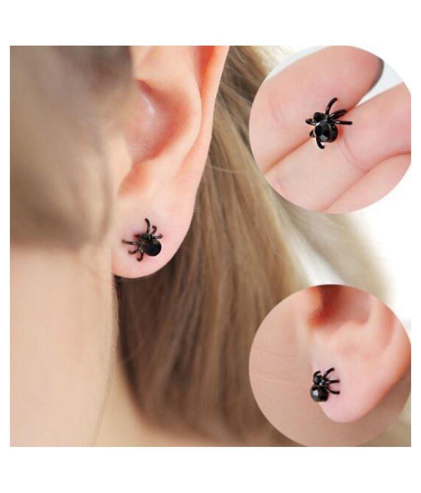 1 Pair Punk Earings 3D Mini Animal Black Spider Stud Earrings for Women Men Holloween Gift M#