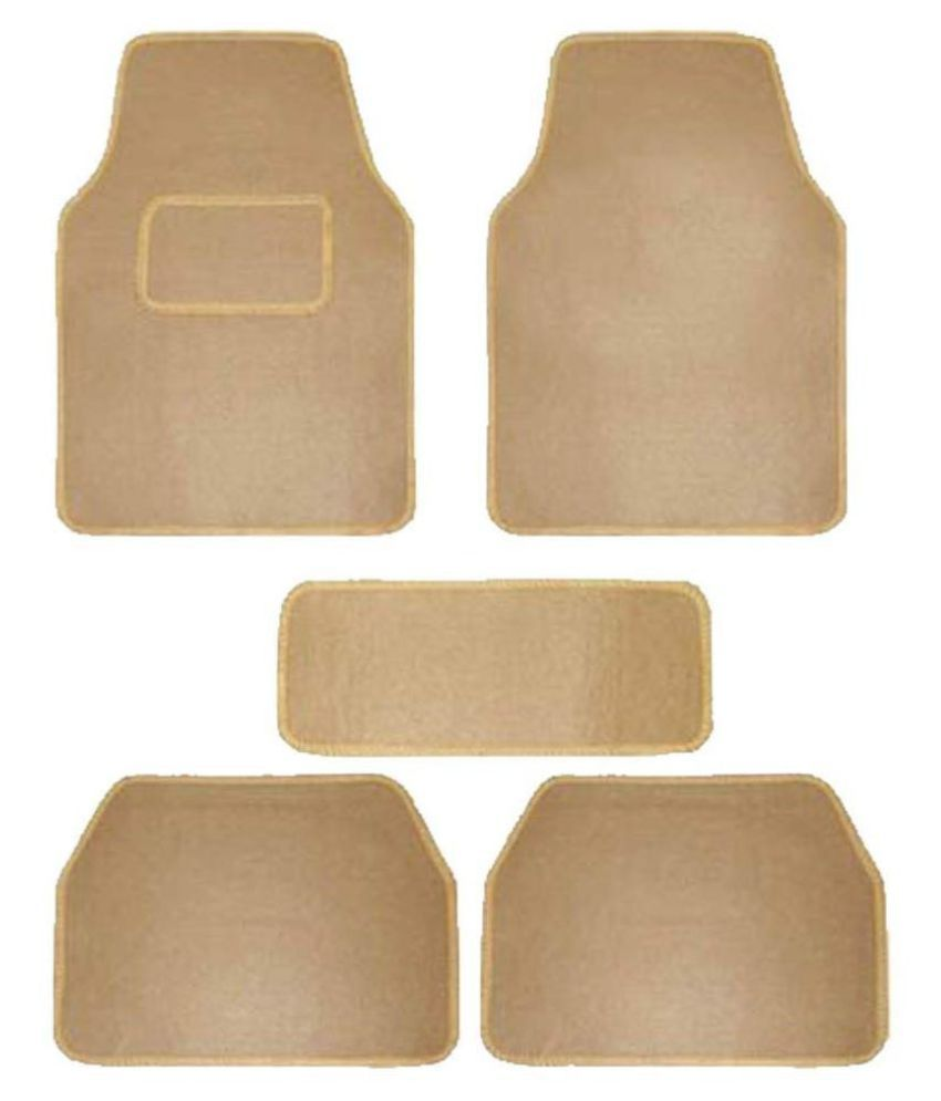 Autofetch Carpet Car Floor/Foot Mats (Set of 5) Beige for Maruti Alto K10 (2012-2014)