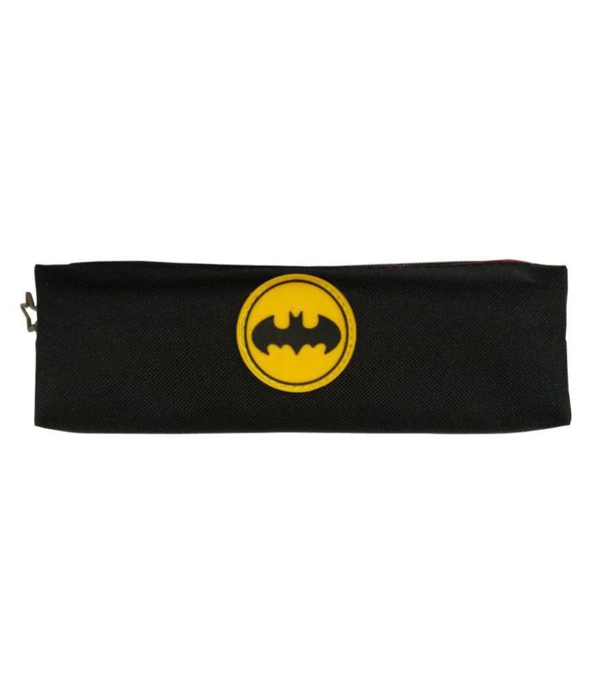 Shoppers Stoppers Black Color Bat Man Premium Jute Cosmetic and Stationery Pouch