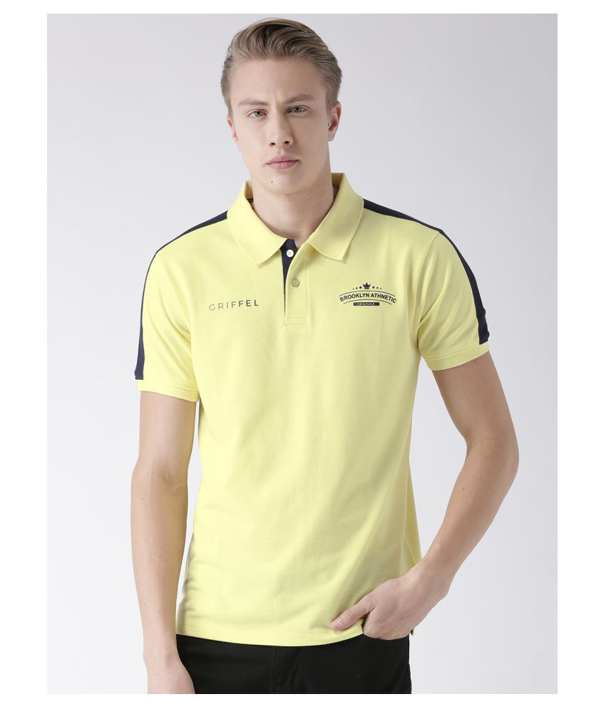 Griffel 100 Percent Cotton Yellow Solids T-Shirt