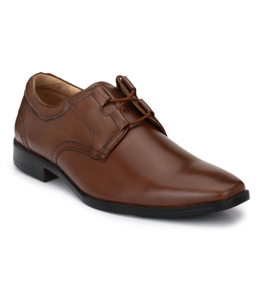 HiREL'S Office Genuine Leather Brown Formal Shoes
