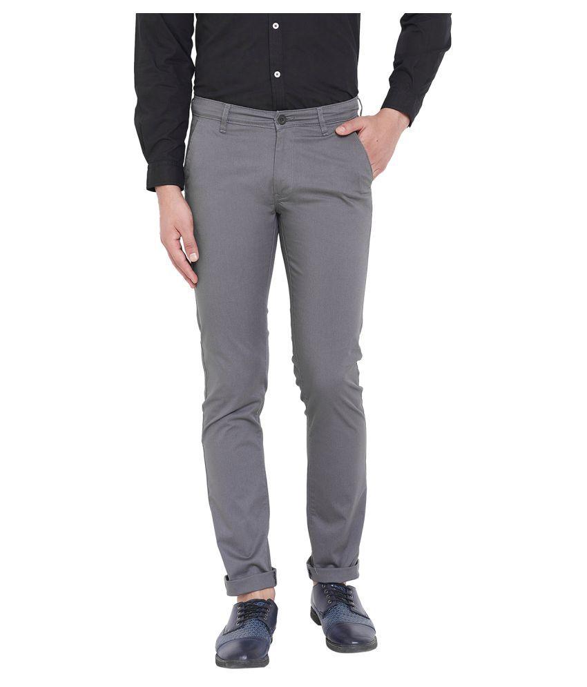 Canary London Grey Slim -Fit Flat Chinos