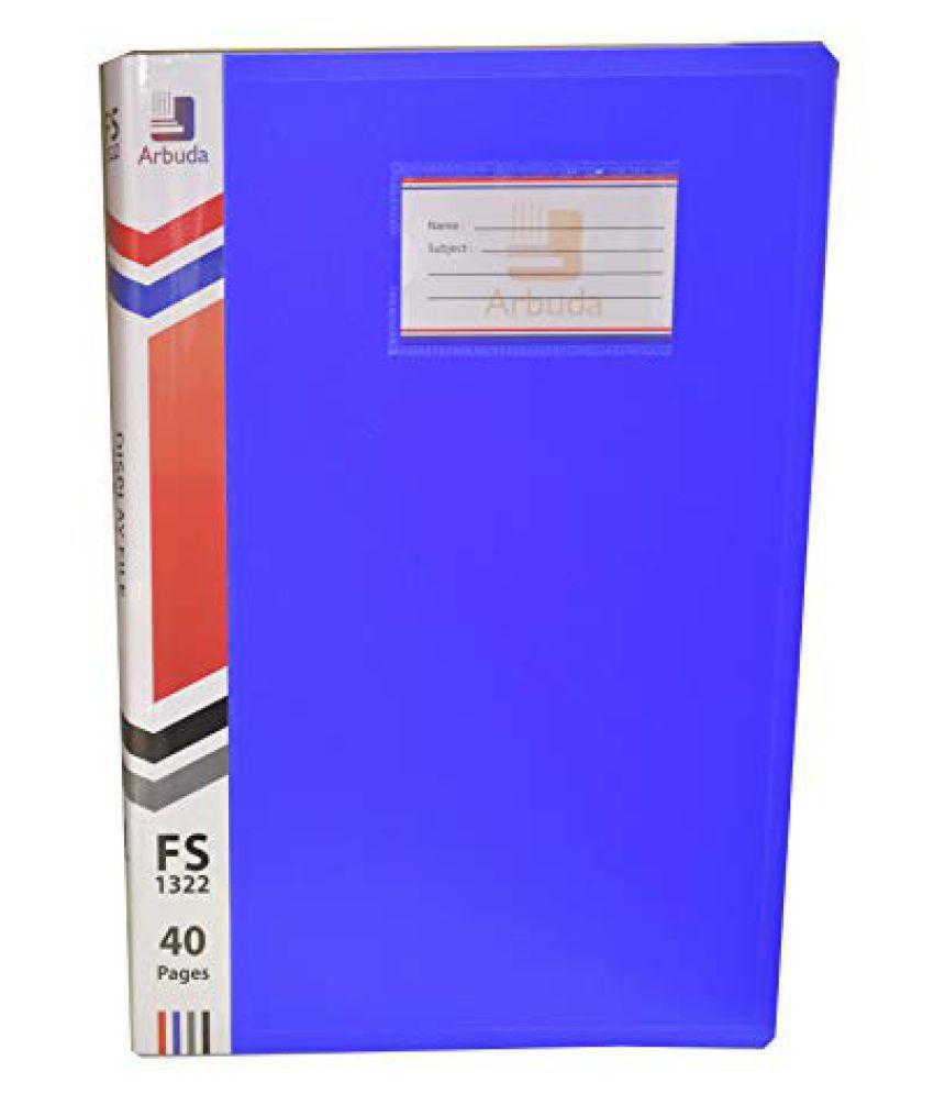 Arbuda Display Book 20 Pocket Clear Folder Plastic File Display Presentation Book, 20 Pockets, Blue Colour Size :F/S Qty 1 no.