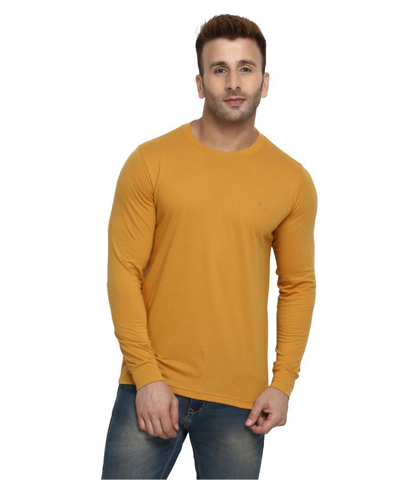CHKOKKO Plain Full Sleeve Cotton Casual Solid Crew Round Neck T Shirts for Men