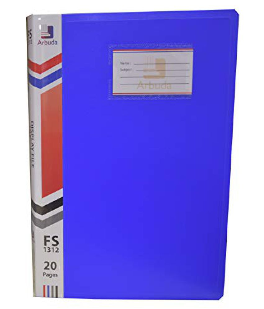 Display Book Arbuda Clear Folder Plastic File Display Presentation File 10 Pockets Blue Colour Pack of 6 Nos. F/S