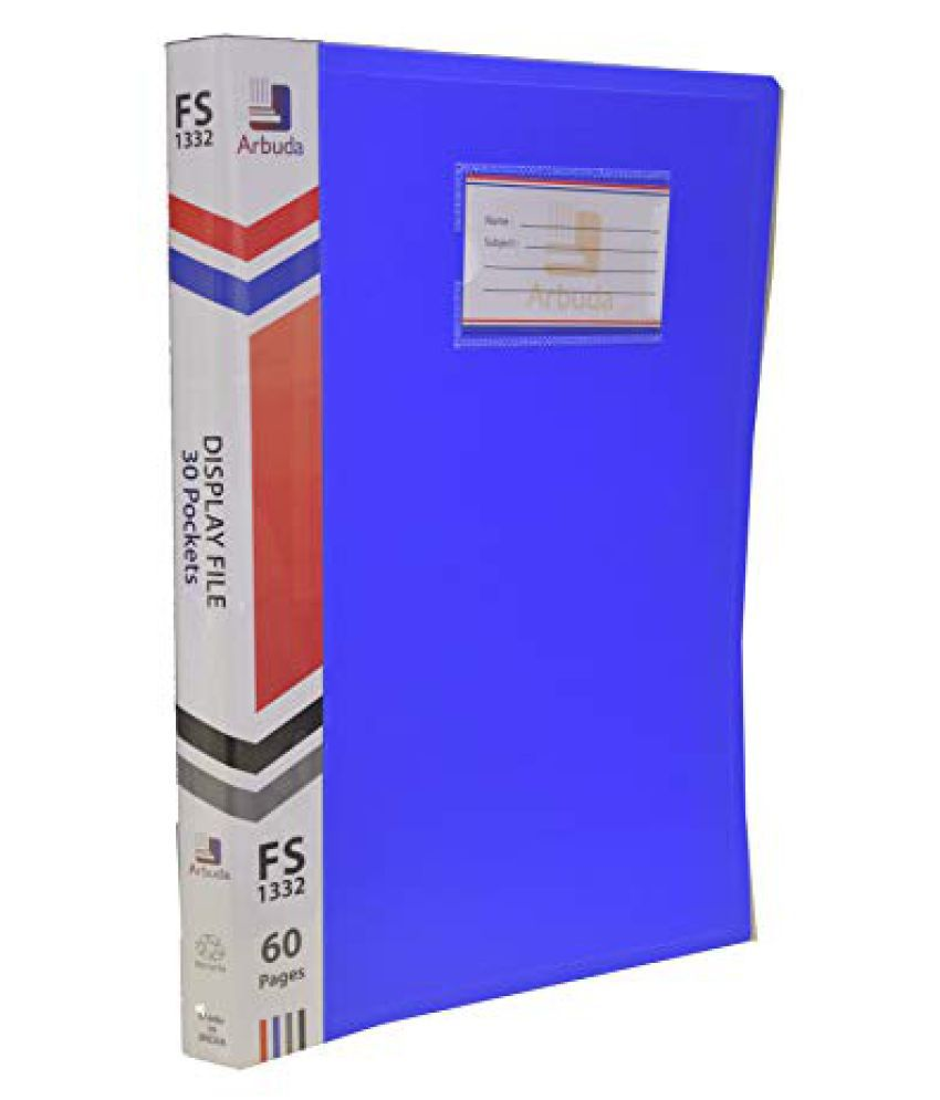 Display Book Arbuda Clear Folder Plastic File Display Presentation File 30 Pockets Blue Colour Pack of 4 nos. F/S