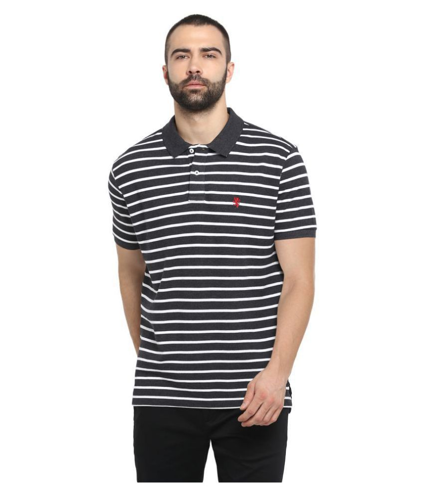 Red Tape Cotton Blend Black Stripers Polo T Shirt