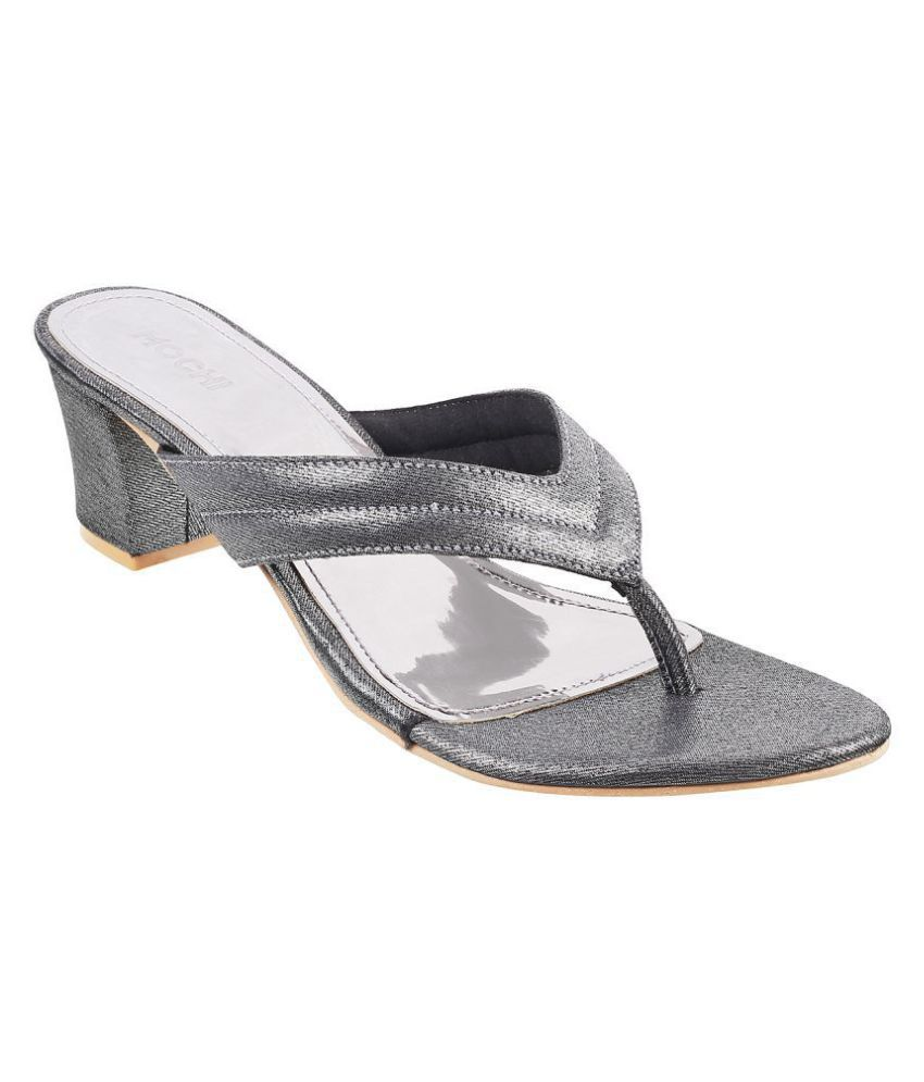 Mochi Gray Block Heels