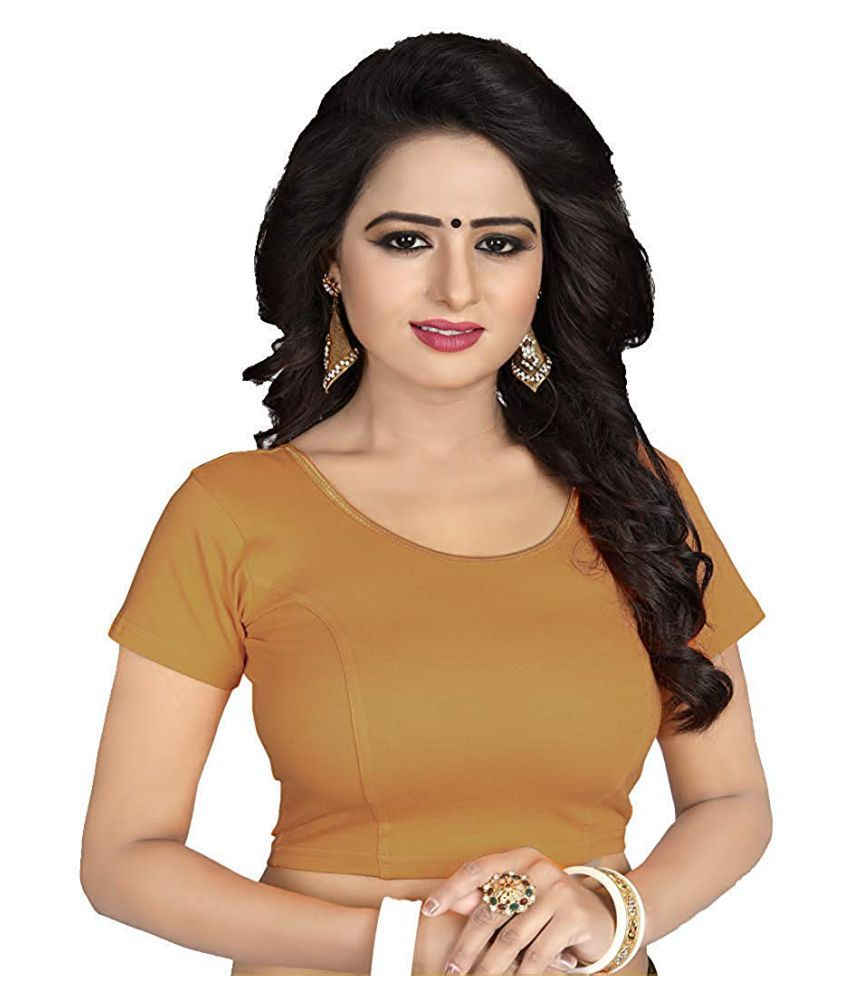 SHIVGAMI Beige Lycra Readymade without Pad Blouse