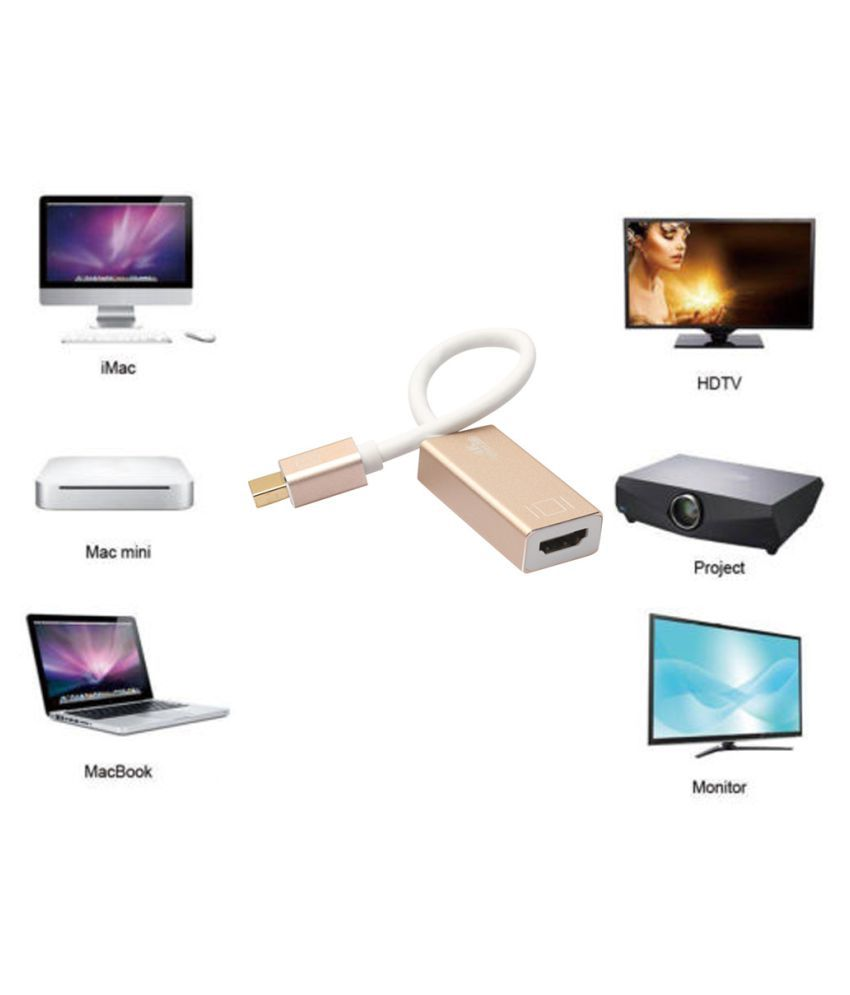 4K Thunderbolt Mini Display Port DP To HDMI 2.0 Cable Adapter HDTV For Macbook