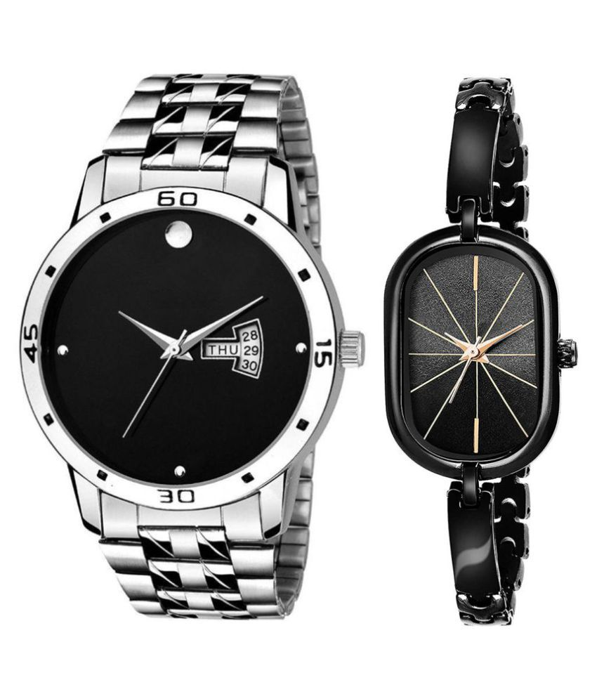 Selveen enteprise Black Dial Day & date Fancy Couple Watch For New Lovers DR037