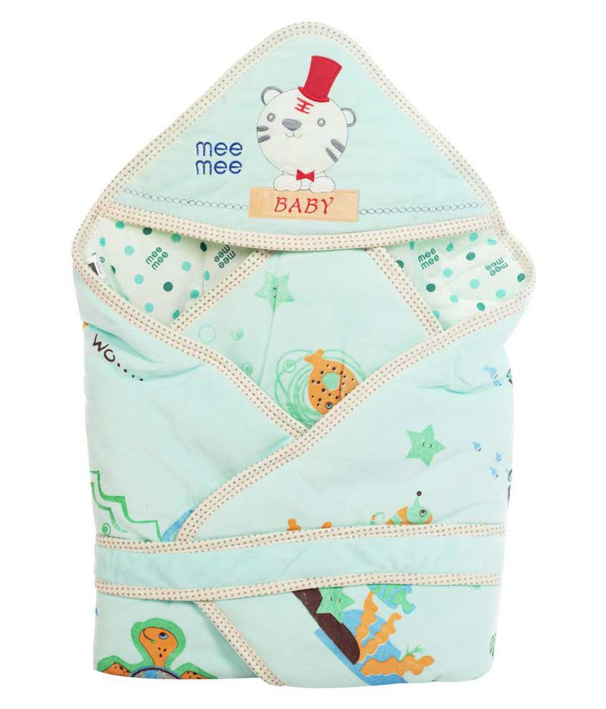Mee Mee Green Cotton Baby Wrap cum blanket ( 36 cm × 5 cm - 1 pcs)