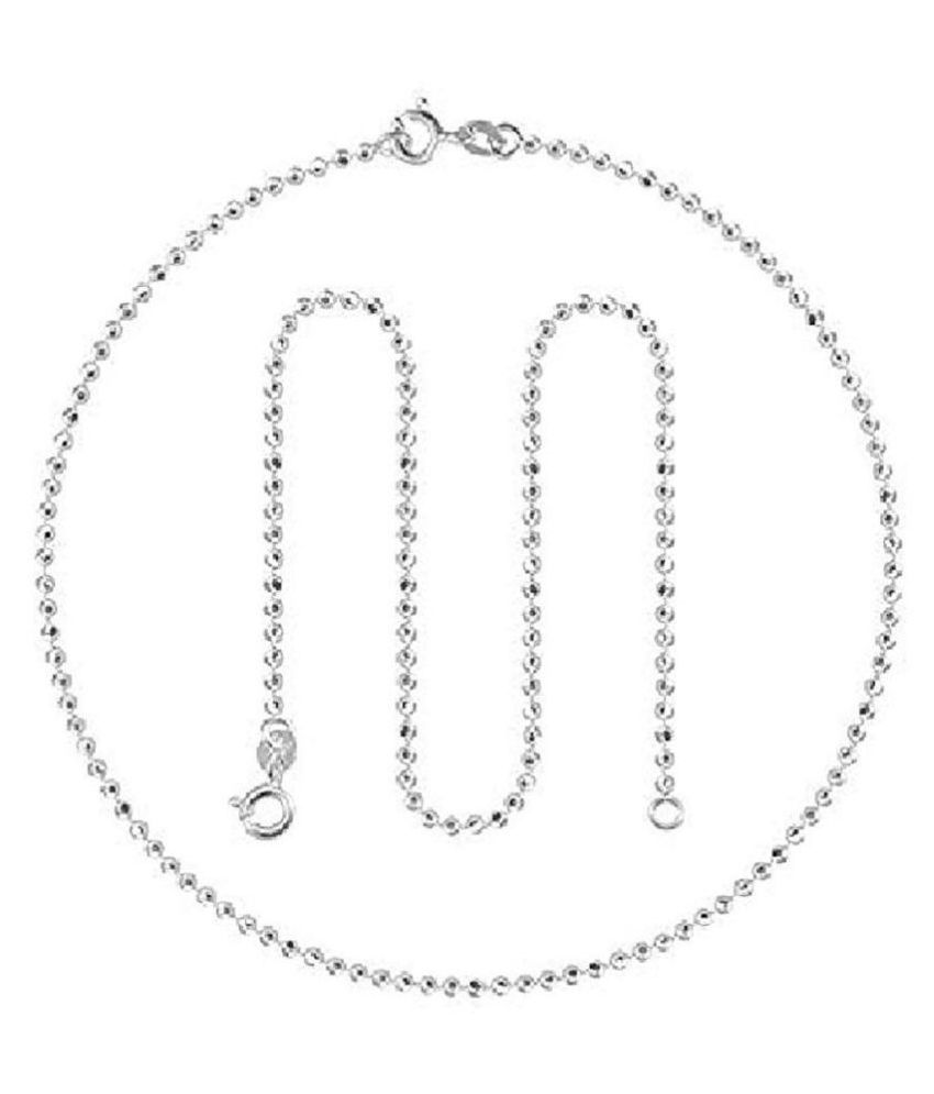 Anklets (Payal) Ball Design 92.5 Pure Sterling Silver For Women & Girls