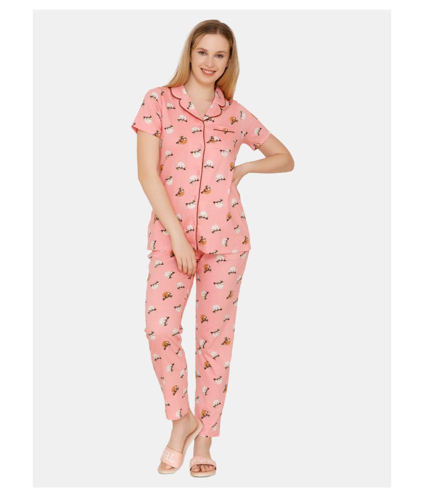 Zivame Cotton Nightsuit Sets - Pink