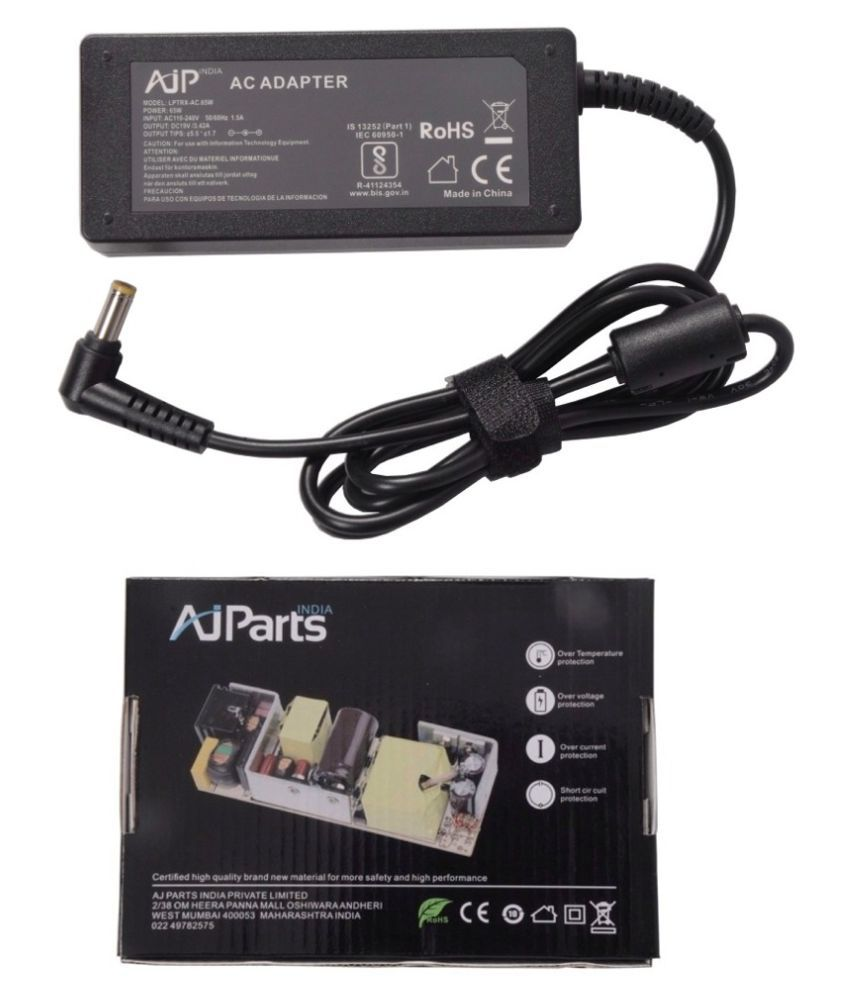 AJP India Laptop adapter compatible For Acer Aspire 5536-744G32MN PSU 65W 19V Battery Charger - 5.5MM x 1.7MM