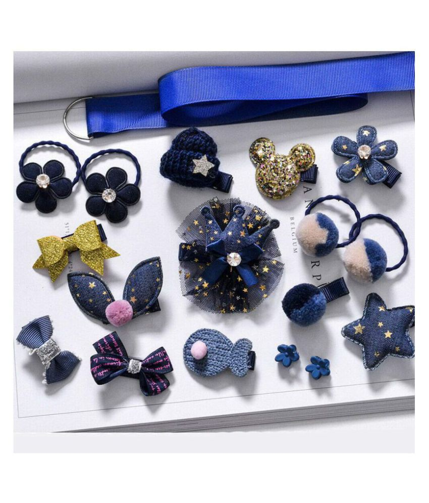 FOK Set of 18 Pieces Fancy Headwear Acessories For Baby Girls/Toddlers - Blue
