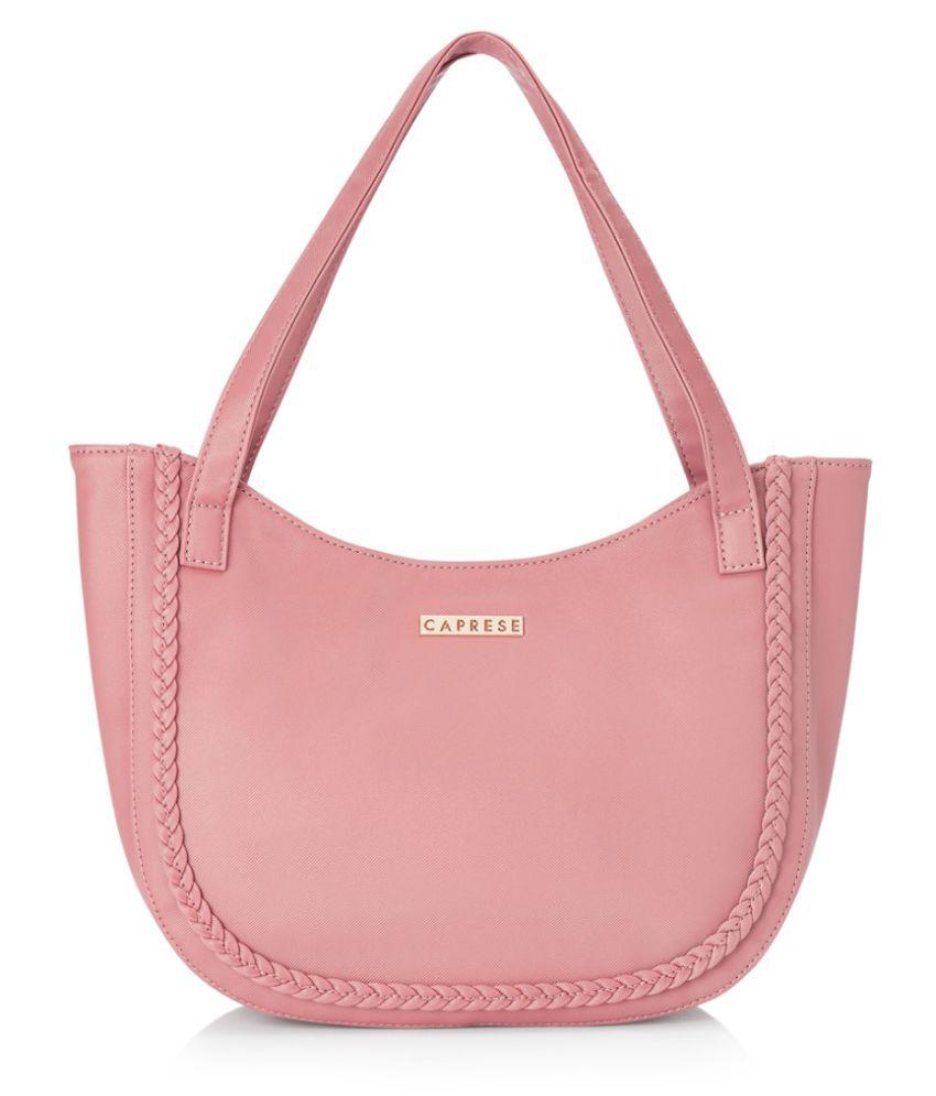 Caprese pink Faux Leather Satchel Bag