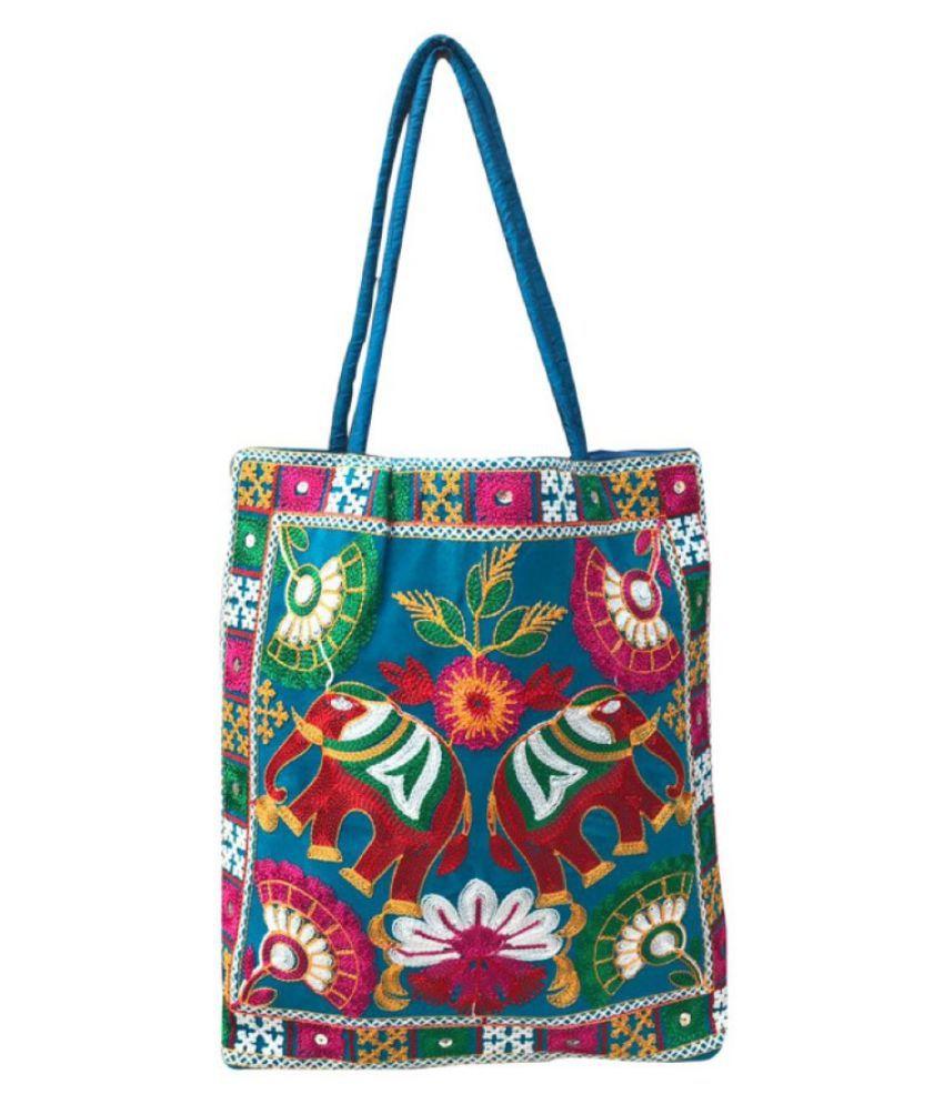 Craferia Export Light Blue Cotton Shoulder Bag
