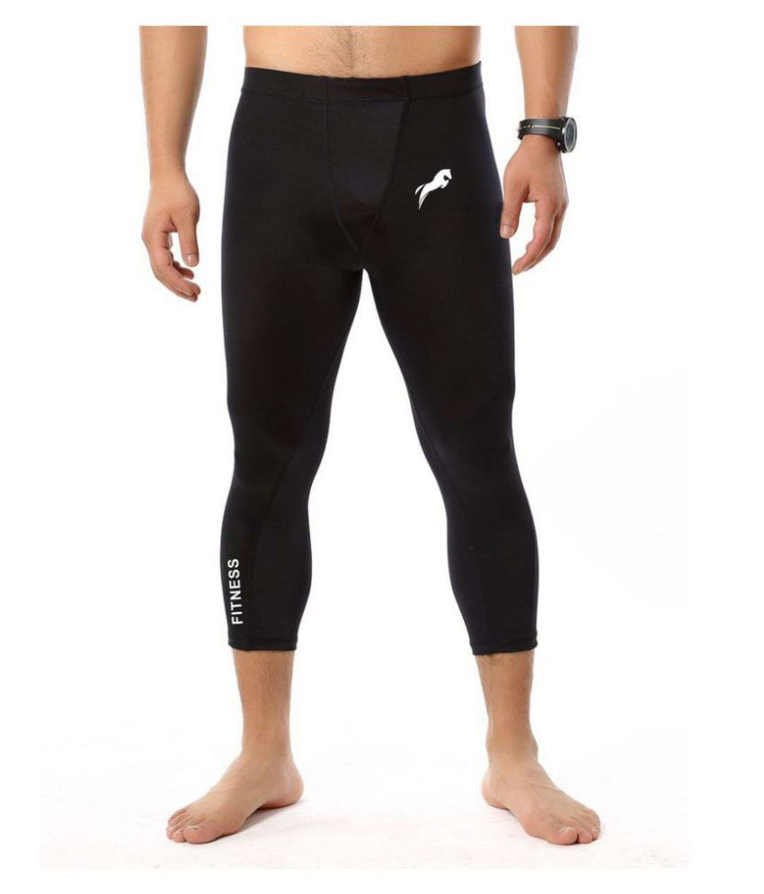 Just Rider Men Running Compression 3/4 Pants Shirts Basketball Training  Football Soccer Skinny Tights Leggings Lycra