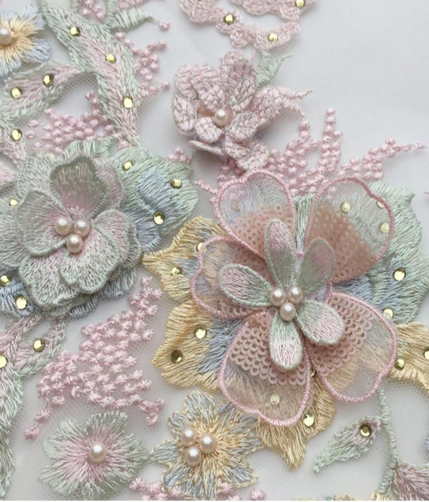 3D Floral Lace Embroidery Bridal Applique Beaded DIY Pearl Tulle Wedding Dk BLUE