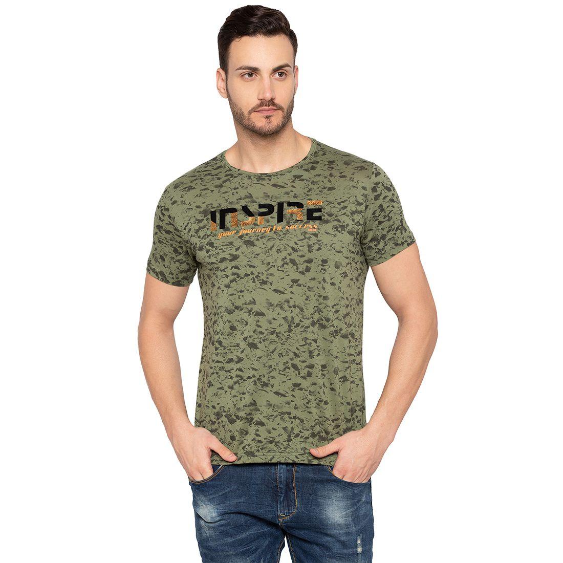 Status Quo 100 Percent Cotton Green Printed T-Shirt