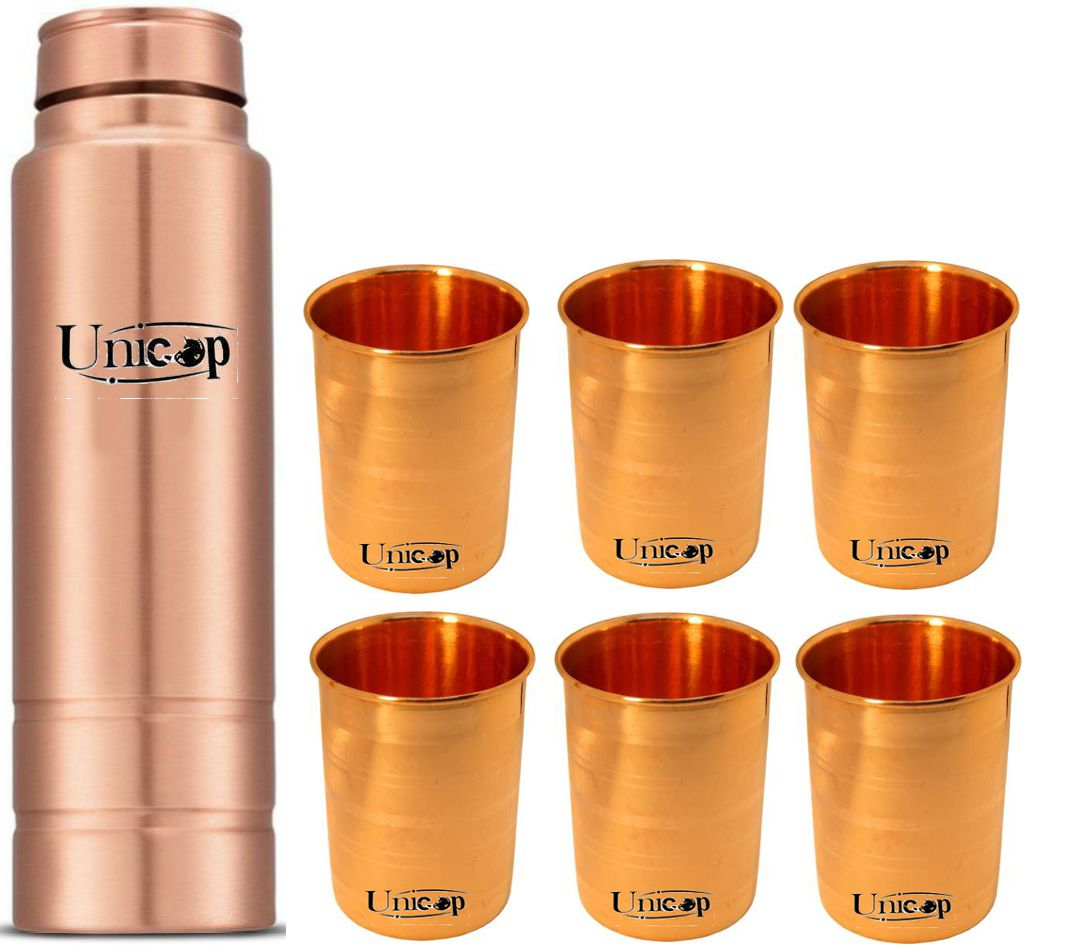 UNICOP Copper Bottle Gift 7 Pcs Liquor Set