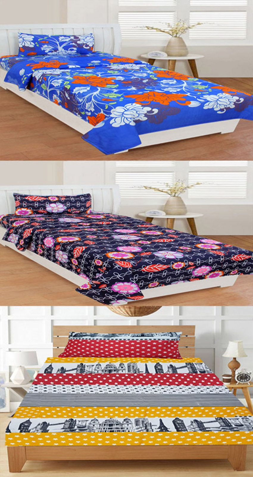 DINNY Poly Cotton 3 Single Bedsheets with 3 Pillow Covers