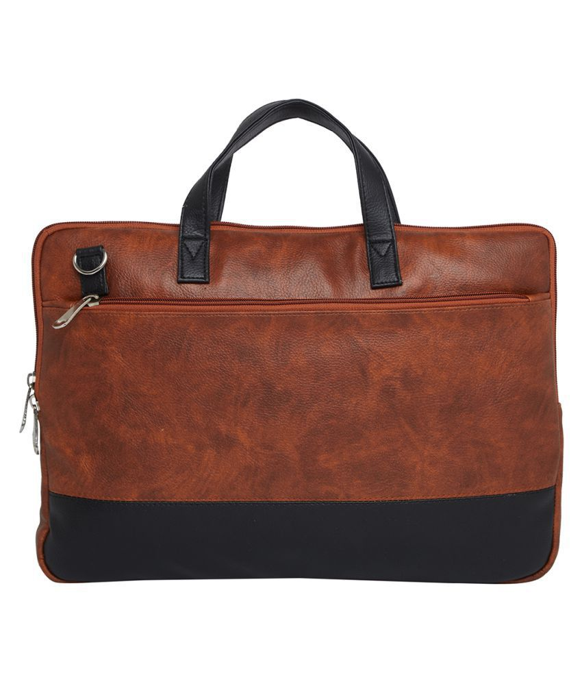 Mboss Tan Synthetic Office Bag